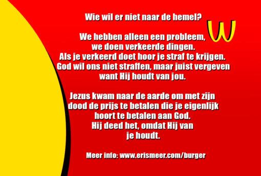 Hemelburger (achterkant) evangelisatiemateriaal