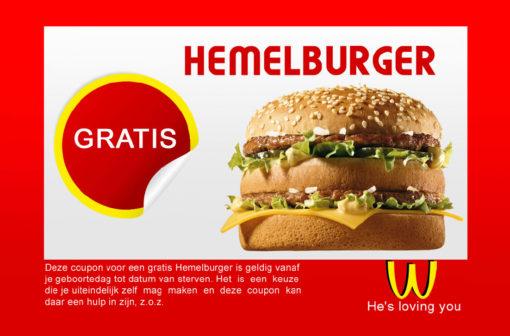 Hemelburger - evangelisatie traktaat (voorkant)