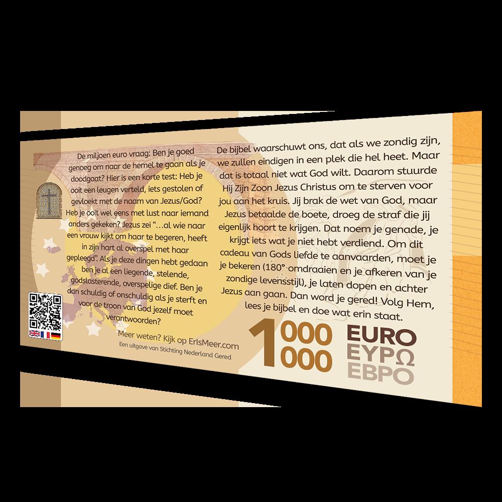 Miljoen Euro BIljet met QR - Evangelisatie-Materiaal.nl