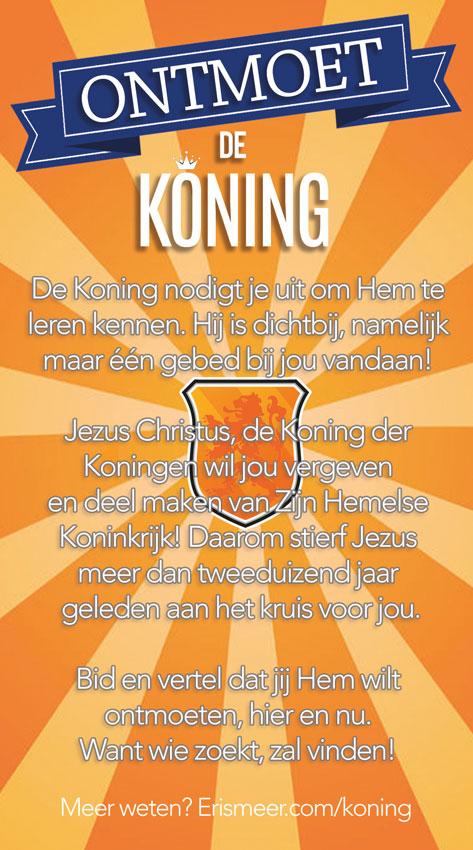 Ontmoet de Koning - Koningsdag - achterkant - Evangelisatie-Materiaal.nl